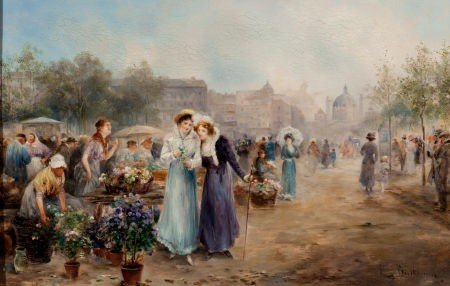 64033: EMIL BARBARINI (Austrian, 1855-1930) Flower Mark