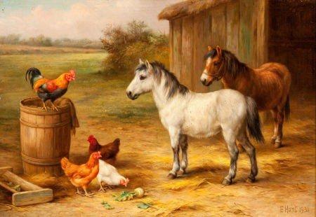 64014: EDGAR HUNT (British, 1876-1953) Barnyard Scene,