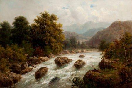 64024: JULIUS ROSE (German, 1828-1911) Alpine Landscape