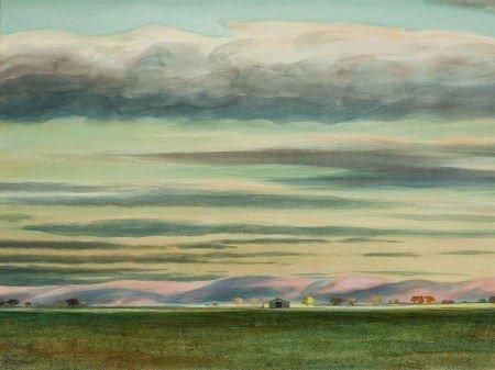 70008: PETER HURD (American, 1904-1984) Taos Sunset Wat