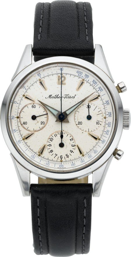 60007: Mathey Tissot Three Register Steel Chronograph,