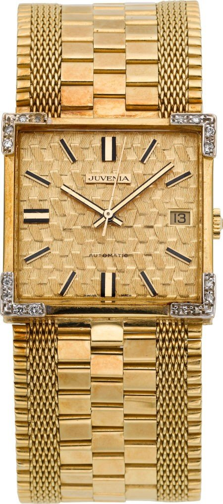 60032: Juvenia 18k Gold & Diamond Automatic Wristwatch,