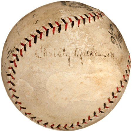 80830: 1923 Christy Mathewson Single Signed Baseball fr