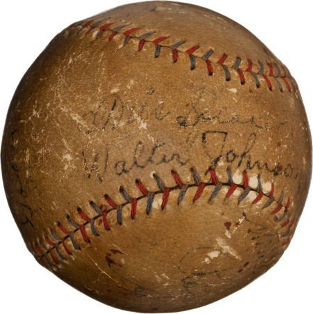 80832: Circa 1927 Hall of Famers Signed Baseball with W