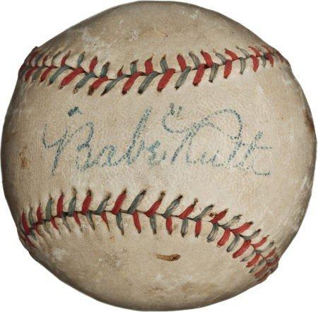 80834: 1927 Babe Ruth & Lou Gehrig Signed Baseball.