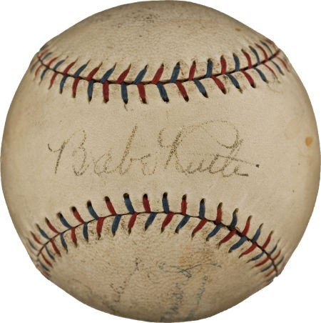 80836: Circa 1929 Babe Ruth, Lou Gehrig & Miller Huggin