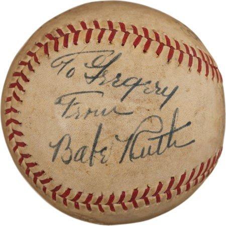 80851: 1930's Babe Ruth Single Signed Baseball.