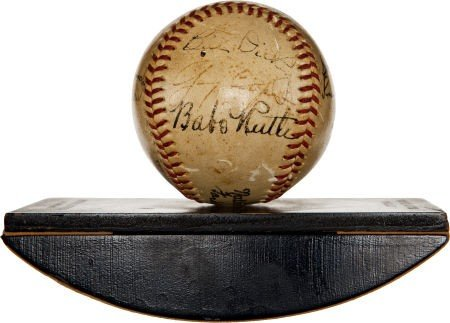 """80863: 1942 """"The Pride of the Yankees"""" Cast Signed Base"""