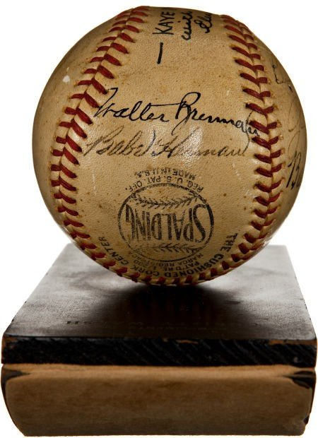 """80863: 1942 """"The Pride of the Yankees"""" Cast Signed Base - 2"""