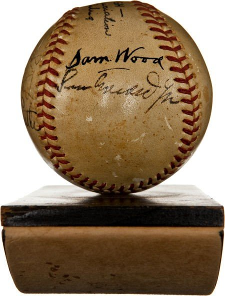 """80863: 1942 """"The Pride of the Yankees"""" Cast Signed Base - 3"""