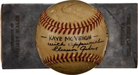 """80863: 1942 """"The Pride of the Yankees"""" Cast Signed Base - 4"""