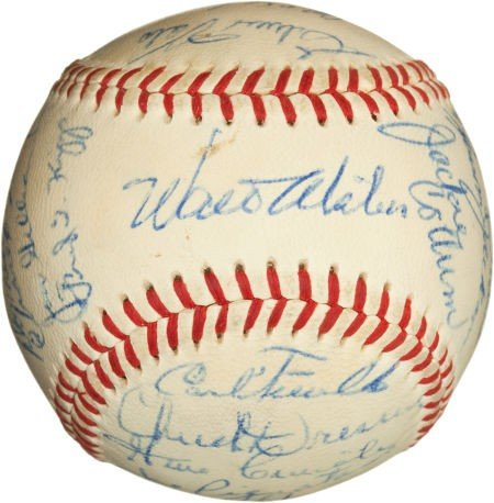 81082: 1958 Los Angeles Dodgers Team Signed Baseball.