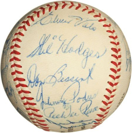81082: 1958 Los Angeles Dodgers Team Signed Baseball. - 2