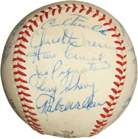 81082: 1958 Los Angeles Dodgers Team Signed Baseball. - 3