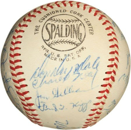 81082: 1958 Los Angeles Dodgers Team Signed Baseball. - 5