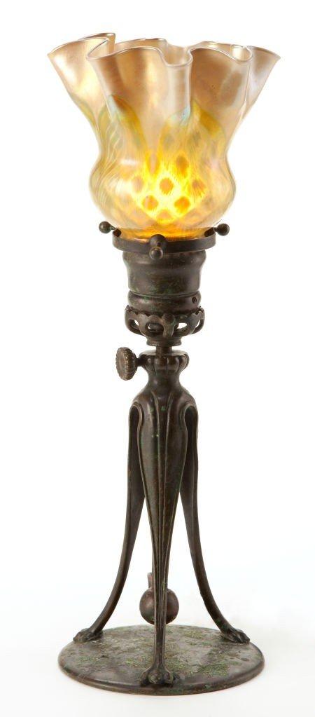 62007: TIFFANY STUDIOS CANDLESTICK LAMP AND FAVRILE GLA