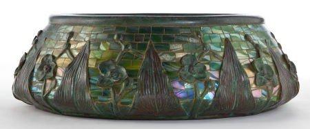62010: TIFFANY STUDIOS GLASS MOSAIC AND BRONZE JARDINIE