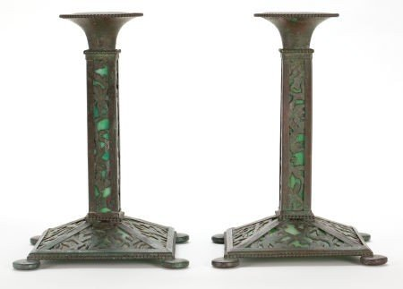 62012: PAIR OF TIFFANY STUDIOS GLASS AND METAL CANDLEST