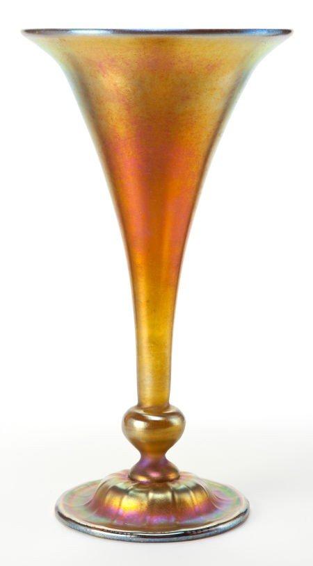62014: TIFFANY STUDIOS FAVRILE GLASS VASE  Gold Favrile