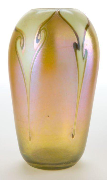 62020: TIFFANY STUDIOS FAVRILE GLASS VASE  Gold Favrile