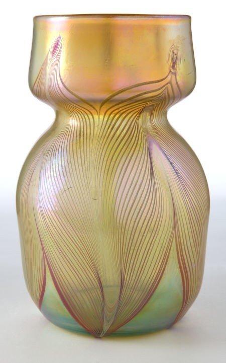62021: TIFFANY STUDIOS FAVRILE GLASS VASE  Gold Favrile
