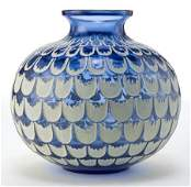 63149: R. LALIQUE BLUE GLASS GRENADE VASE WITH WHITE PA