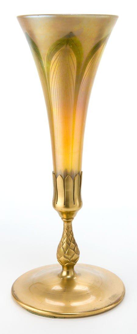 62023: TIFFANY STUDIOS FAVRILE GLASS VASE ON BRONZE BAS