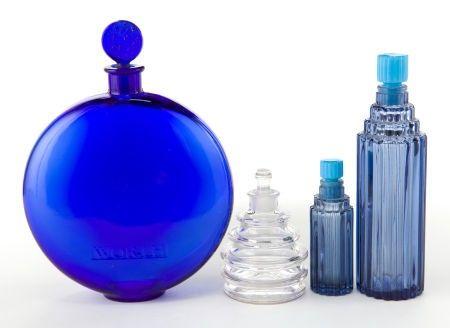 64001: FOUR R. LALIQUE ART DECO GLASS PERFUME BOTTLES F