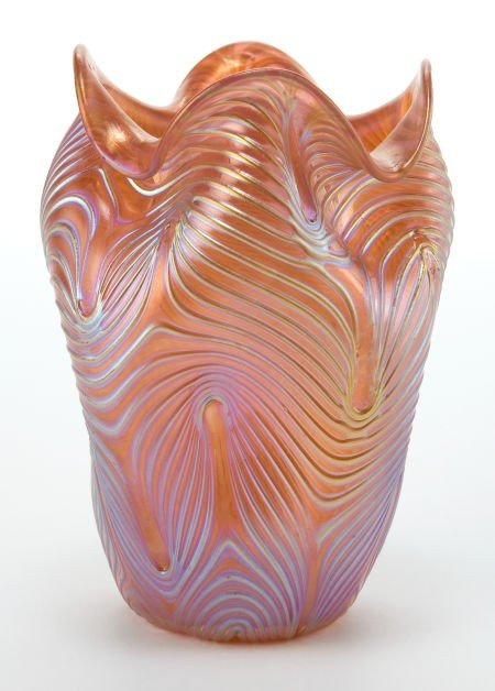 62184: LOETZ GLASS VASE  Pink glass vase with pinched s