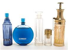 64005: FIVE R. LALIQUE ART DECO GLASS PERFUMES  Two blu