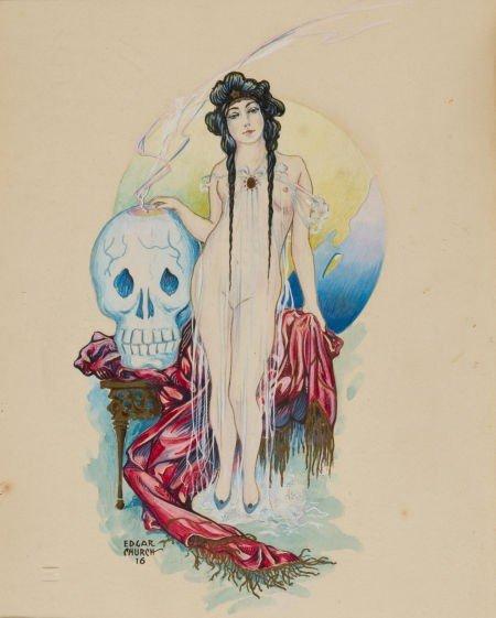 91004: Edgar Church Female Nude with Large Skull Illust