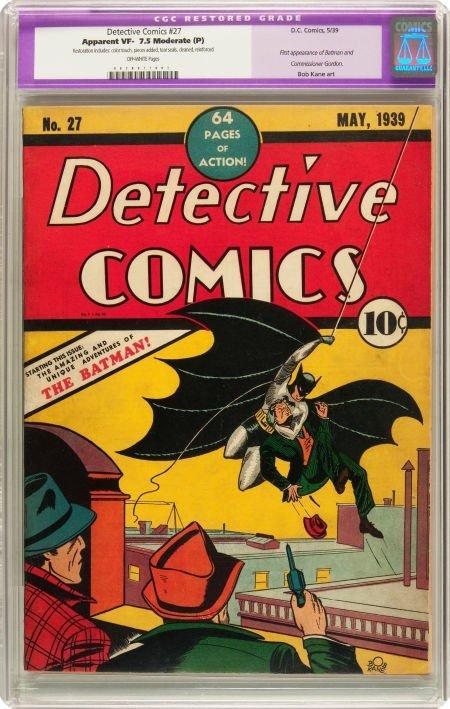 91210: Detective Comics #27 (DC, 1939) CGC Apparent VF-