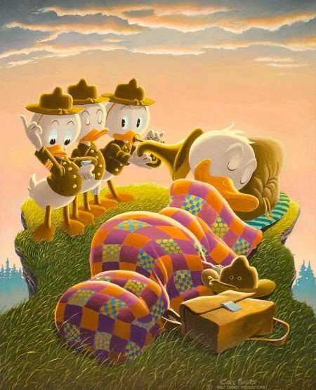 92003: Carl Barks Rude Awakening Painting Original Art