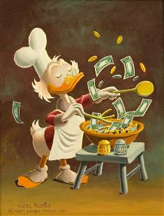 Carl Barks Banker's Salad Painting Original Art