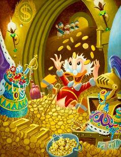 Carl Barks Happy Hour Scrooge McDuck Oil Paintin