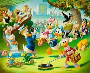 Carl Barks Holiday in Duckburg Painting Original