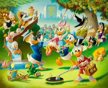92007: Carl Barks Holiday in Duckburg Painting Original
