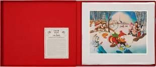Carl Barks Snow Fun Lithograph Progressive Proof