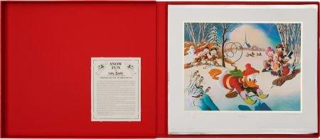 92021: Carl Barks Snow Fun Lithograph Progressive Proof