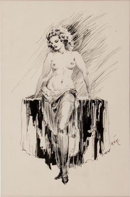 92199: Roy Krenkel Female Semi-Nude Sketch Original Art