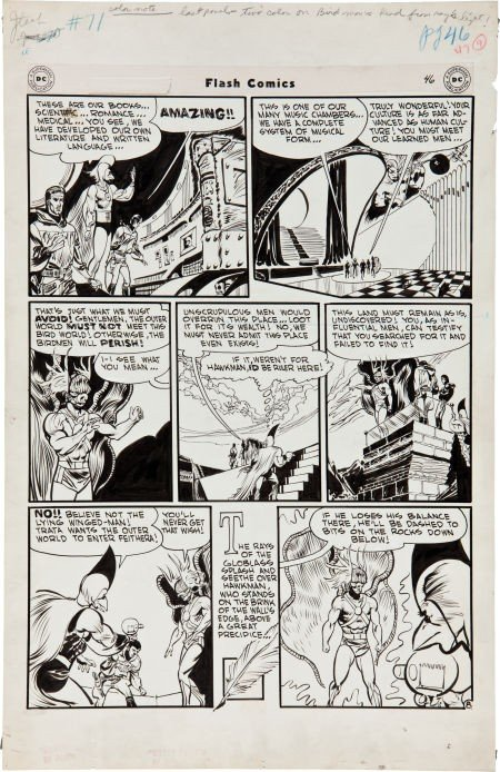 92201: Joe Kubert Flash Comics #71 Golden Age Hawkman p
