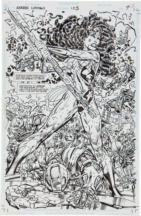 92089: John Byrne Wonder Woman #103 Splash Page 9 Origi