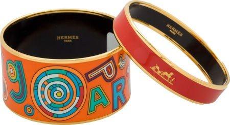 56001: Set of Two: Hermes Tohu Bohu Wide Enamel Bracele
