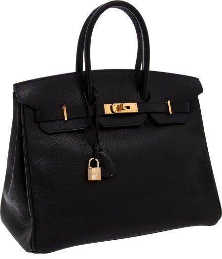 56002: Hermes 35cm Black Ardennes Leather Birkin Bag wi