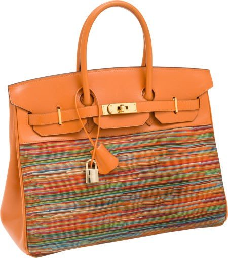 56003: Hermes 35cm Orange Calf Box Leather & Vibrato Mu