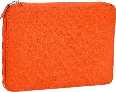 56004: Hermes Orange H Chevre Leather Azap Zip-Around A