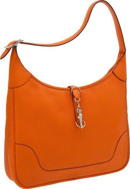 56005: Hermes 35cm Orange H Clemence Leather Trim Bag w
