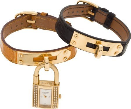 56085: Hermes 18K Yellow Gold and Diamond Kelly Watch w
