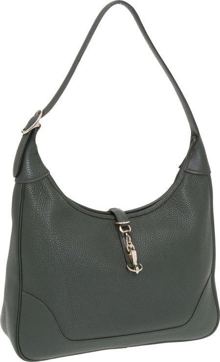 56006: Hermes 31cm Vert Fonce Togo Leather Trim Bag wit
