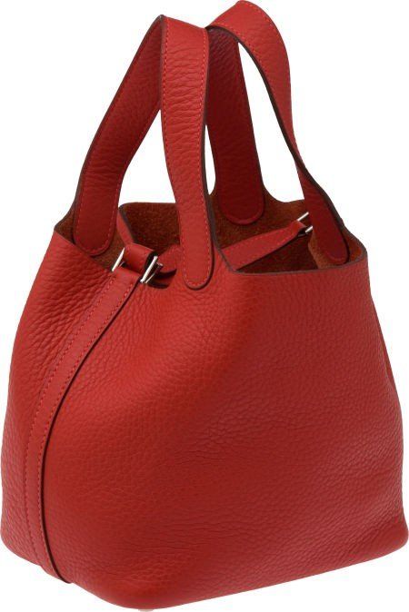 56007: Hermes Vermillion Red Clemence Leather Picotin P